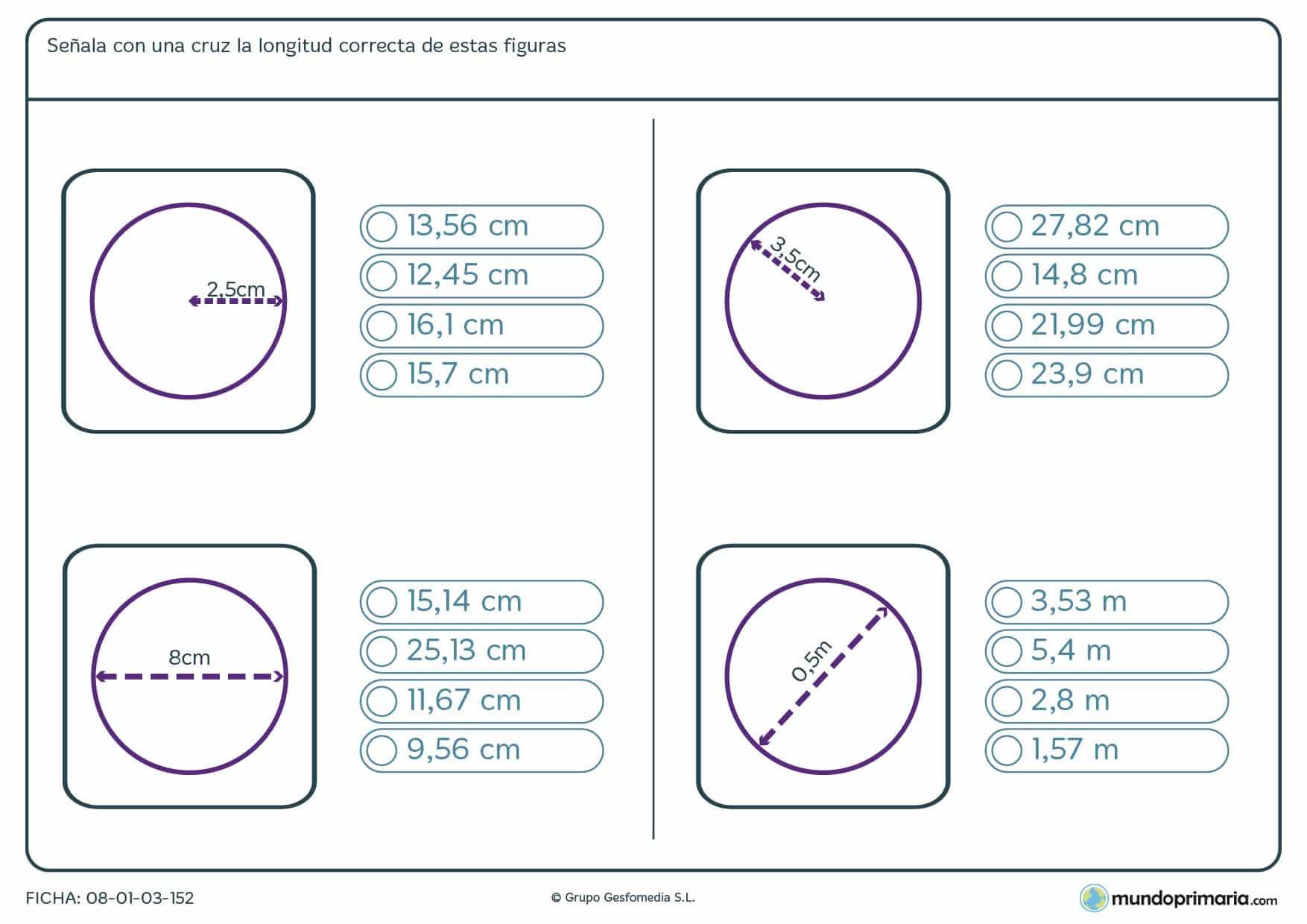 Ficha de longitud de figuras circulares para hallar esta partiendo del radio o el diametro.