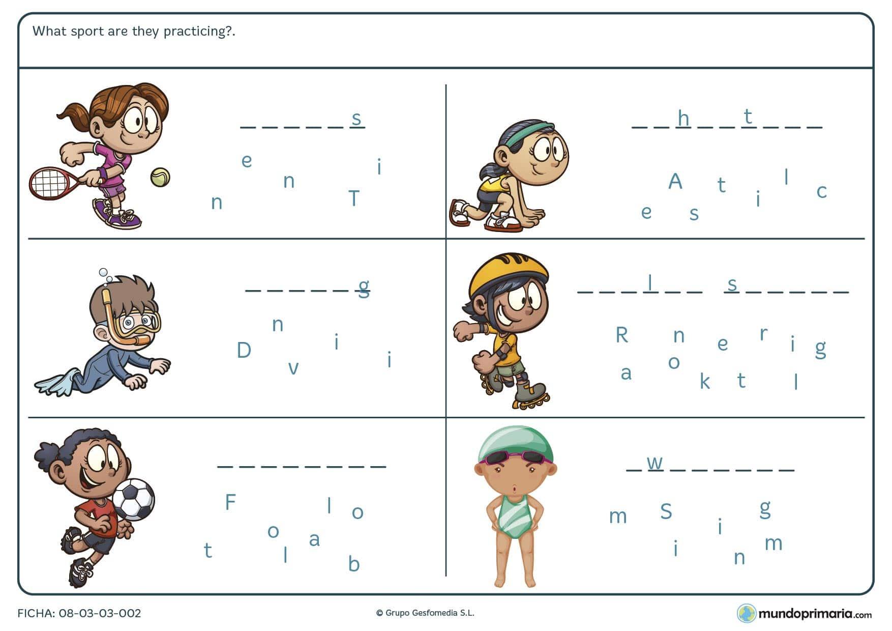 Con la ficha de los deportes en inglés los niños de primaria practican el nombre de los deportes en inglés