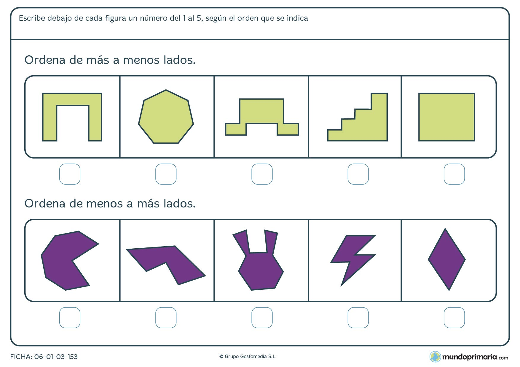 Ficha de más a menos lados para ordenar figuras de diferentes formas y de más o menos número de lados.