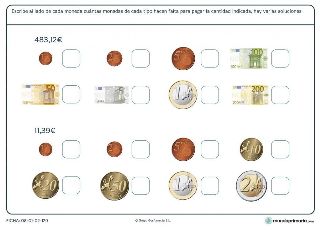 Ficha de manejar euros para niños de primaria