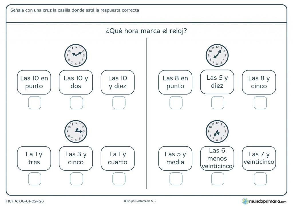 Ficha de marcar las horas para niños de 9 años