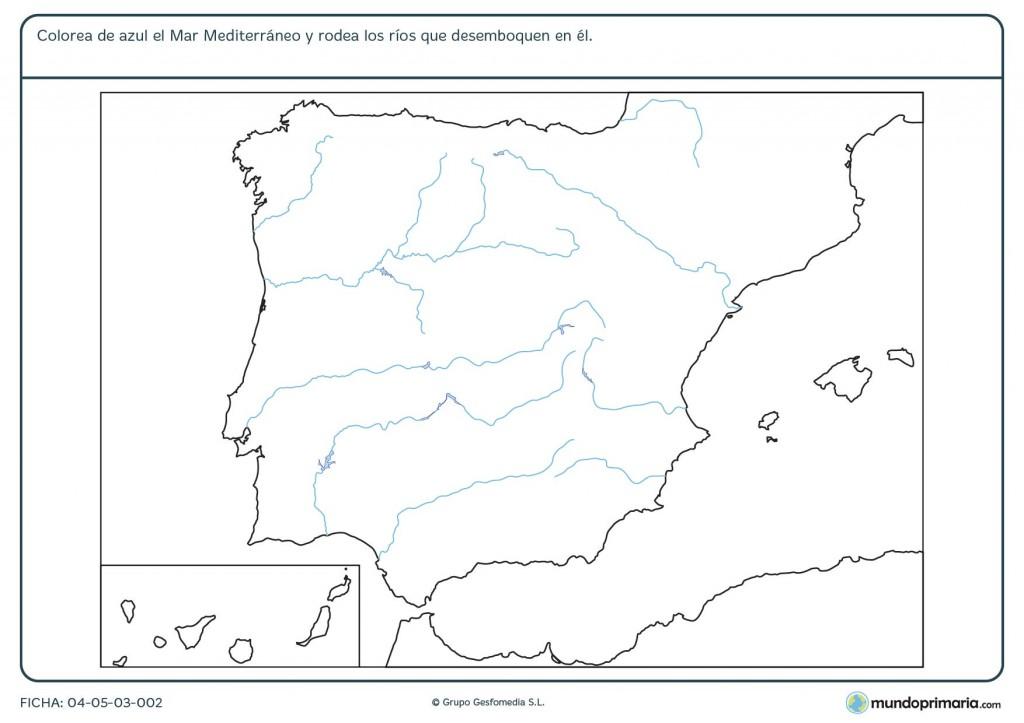 Ficha de mares y rios de España para primaria