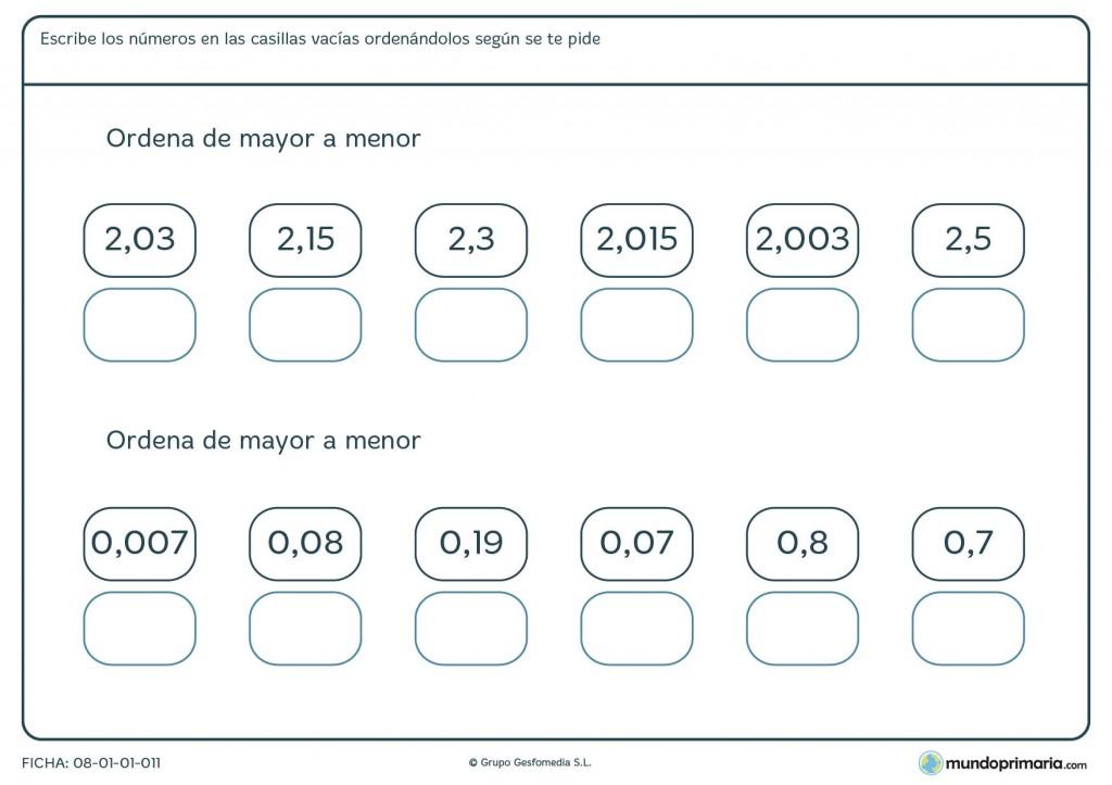 Ficha de mayor a menor con decimales para primaria