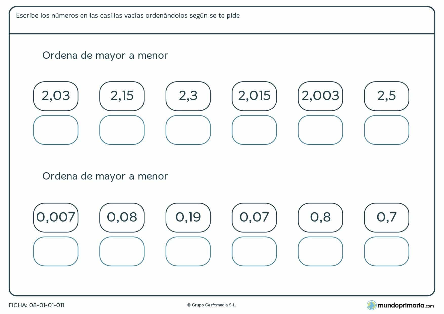Ficha de mayor a menor con decimales en la que has de colocarlos por orden de valor.