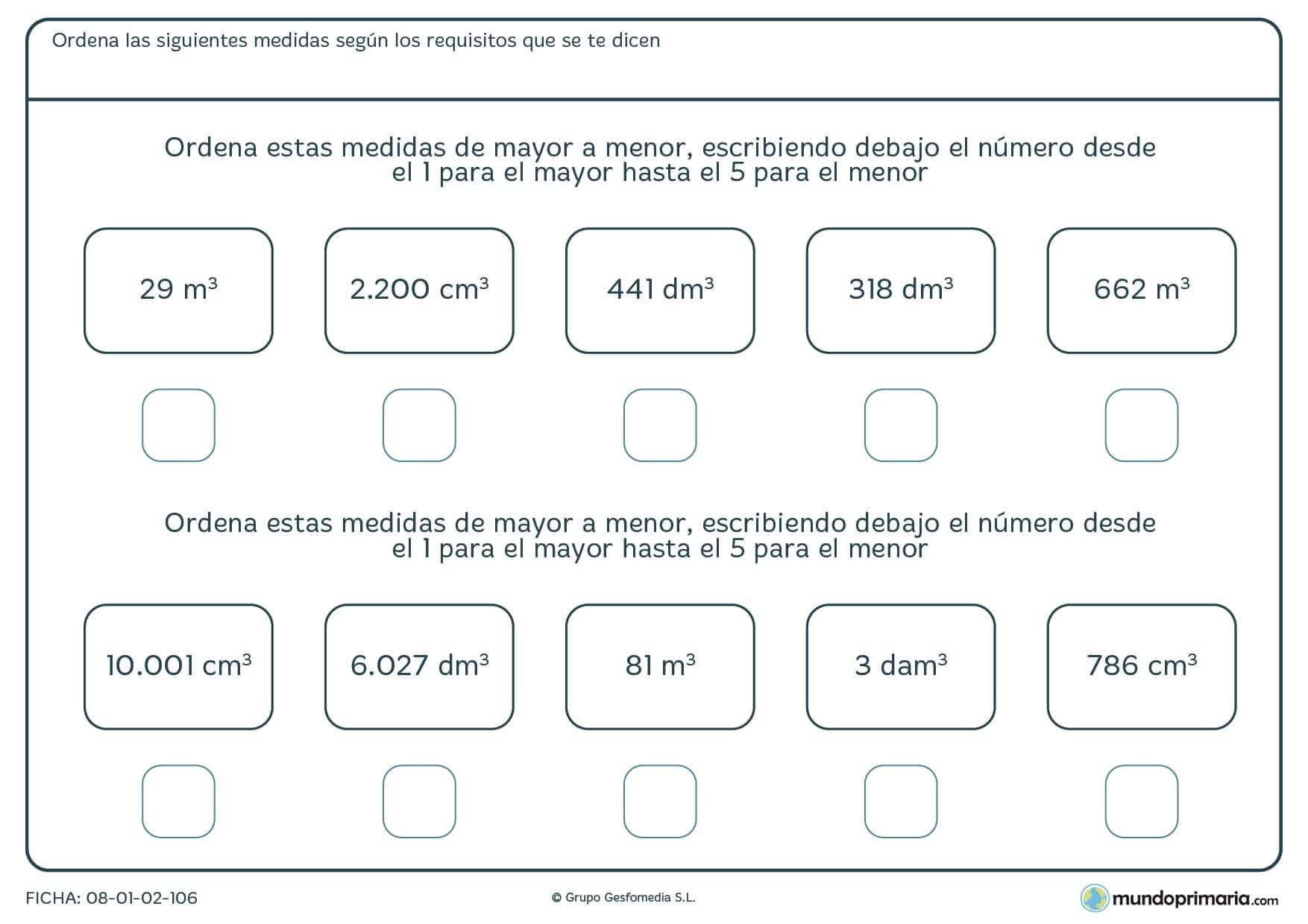 Ficha de mayor a menor, medidas con diferentes unidades para ordenar.