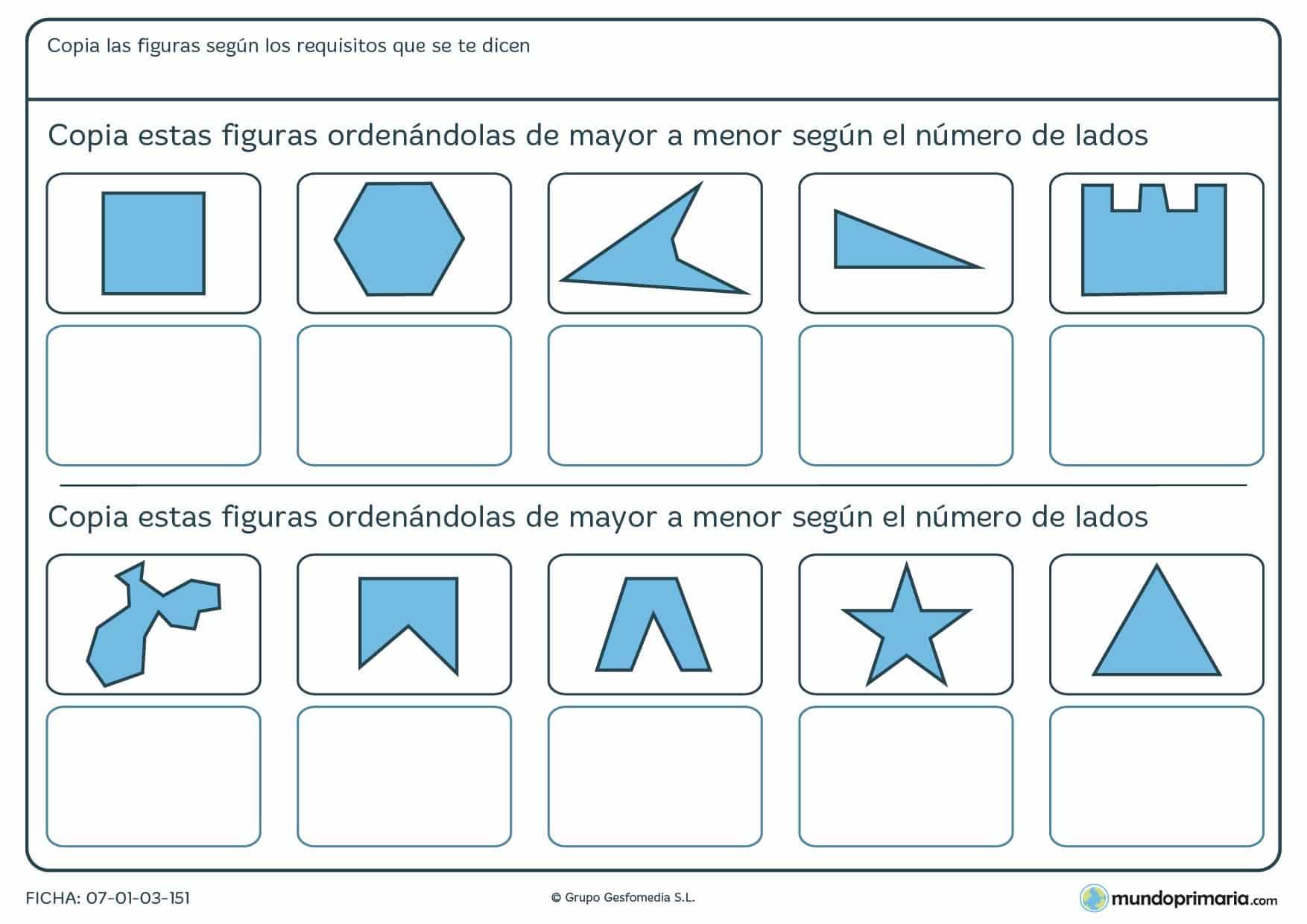 Ficha de mayor a menor en la que hay que ordenarlas según su número de lados.