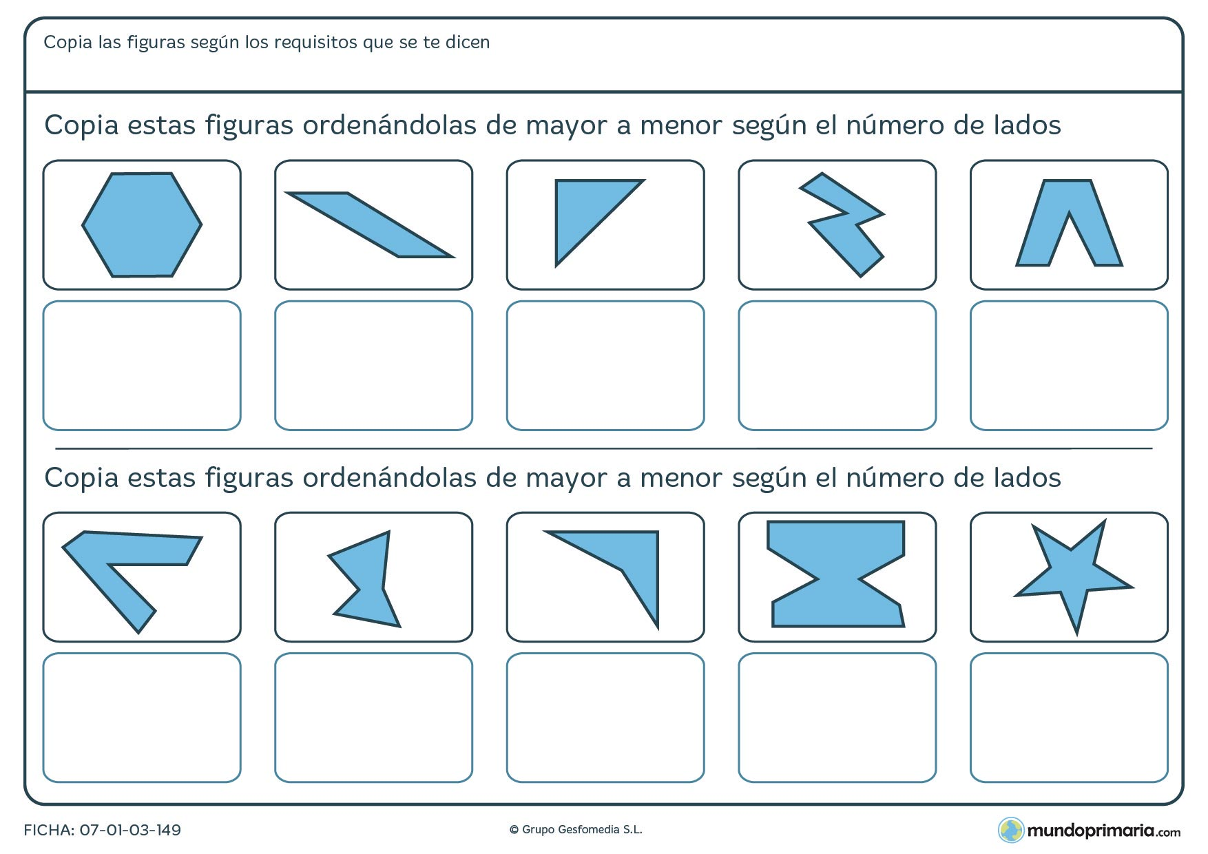 Ficha de mayor lados de figuras geométricas a menor número de lados, ordénalas así.