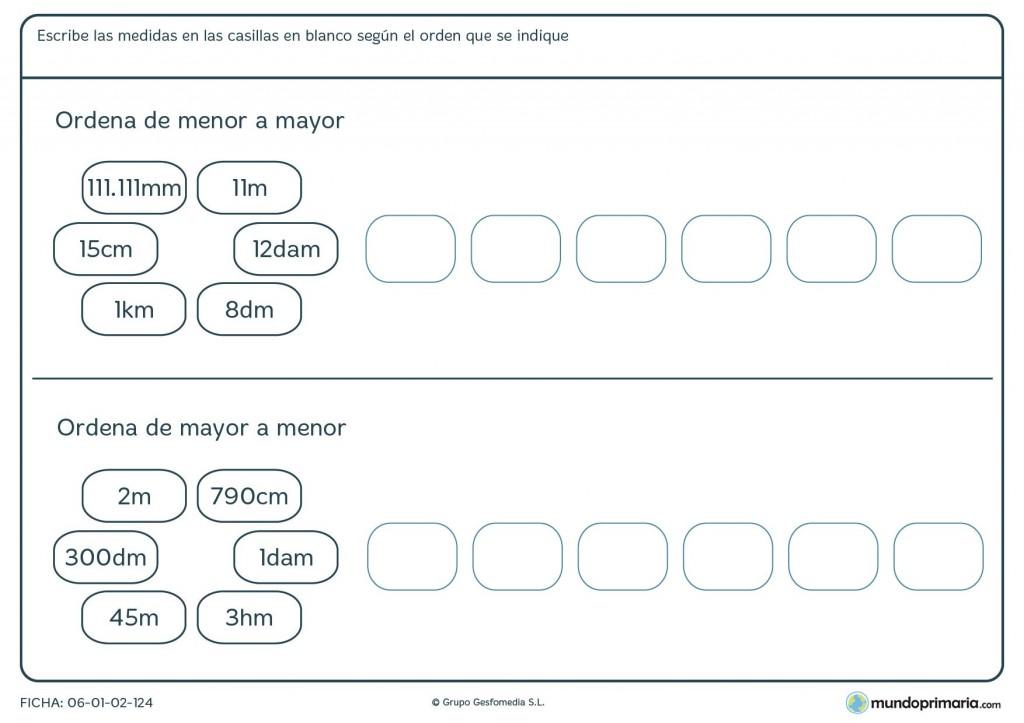 Ficha de mayor o menor medidas para primaria