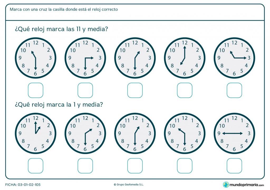 Ficha de medias horas de reloj analógico