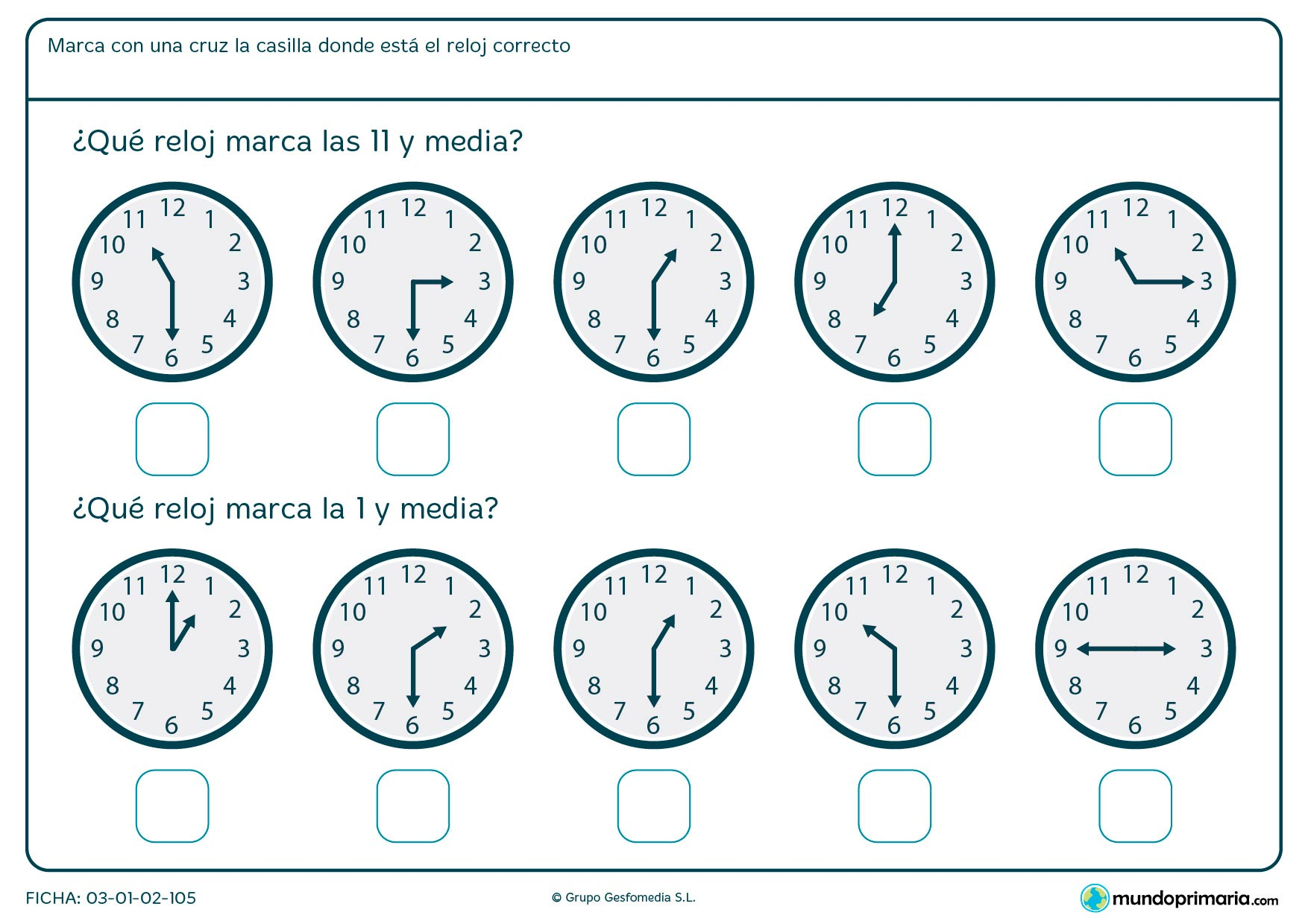 Ficha de medias horas de reloj analógico para decir en qué reloj son las 11 y media y en cuál la 1 y media.
