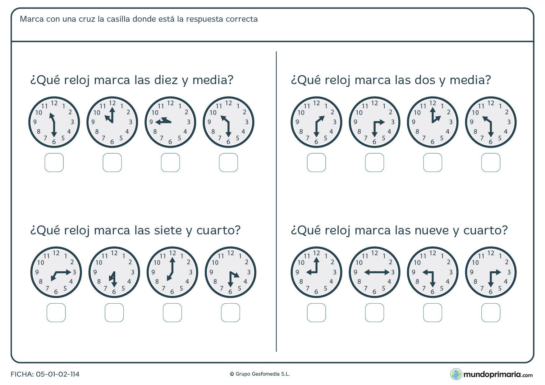 Ficha de medias horas. De estos relojes analógicos dinos cual marca la hora correcta.