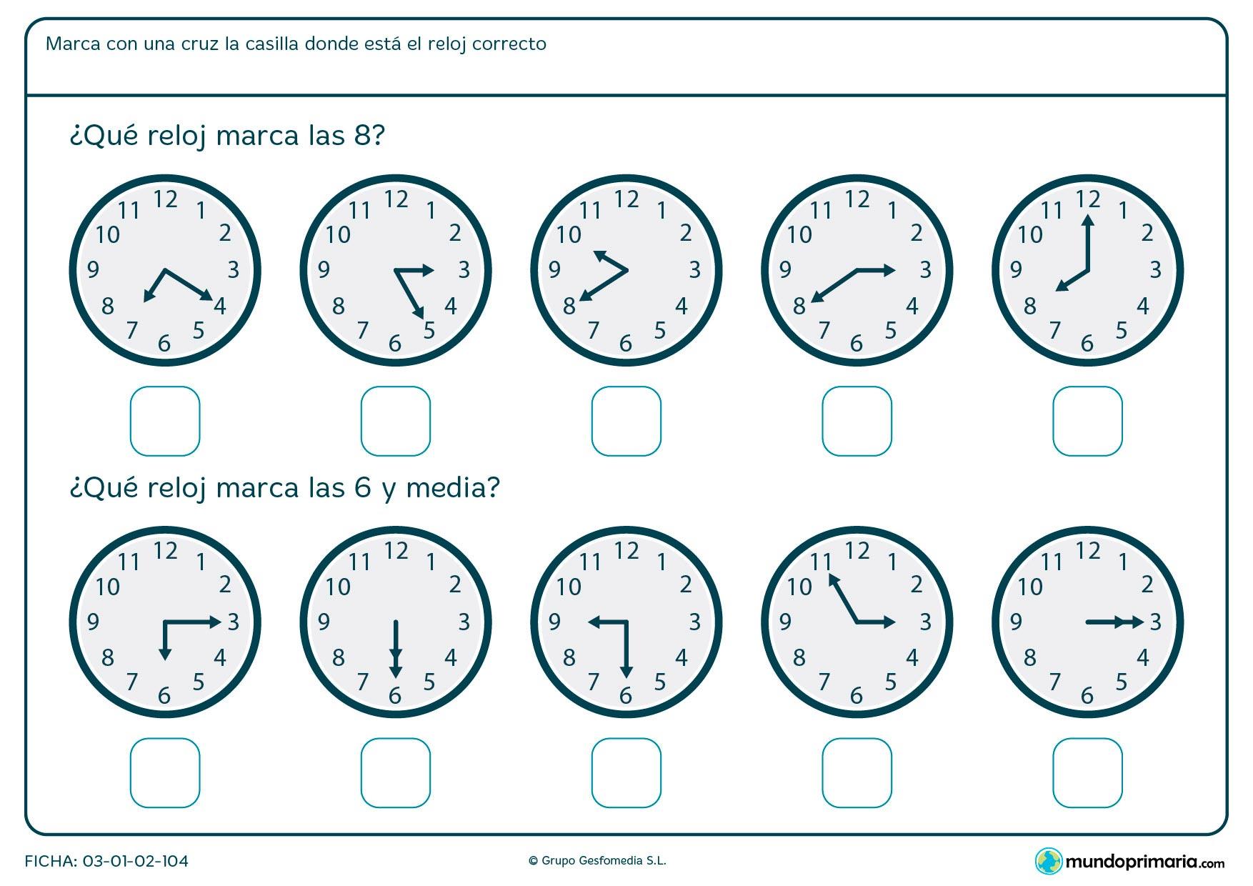 Ficha de medias horas en la que debes señalar los relojes que marcan las horas medias que te pedimos.