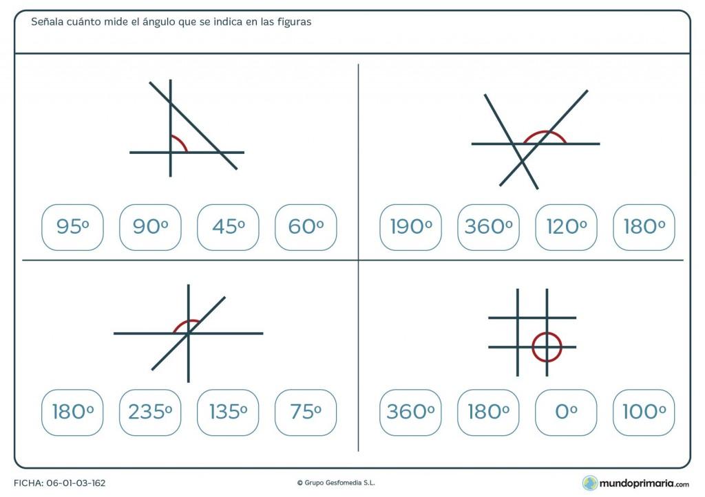 Ficha de medición de ángulos para niños de primaria
