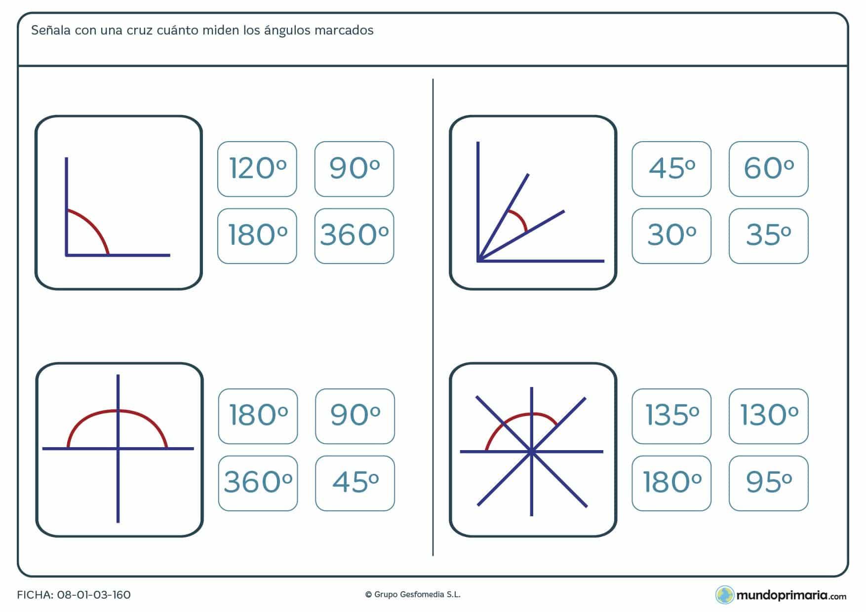 Ficha de medición de ángulos en la que has de marcar la respuesta con el valor correcto del ángulo.