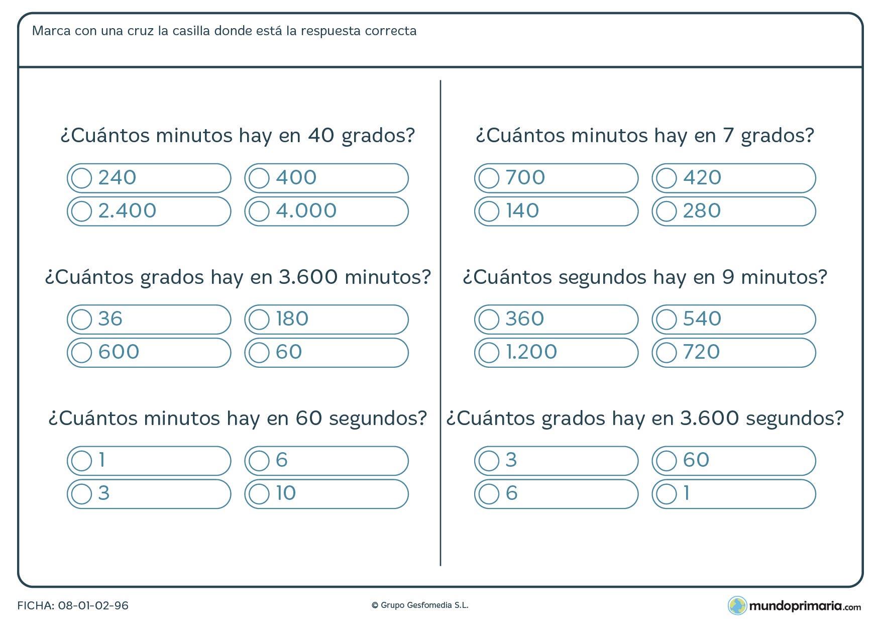 Ficha de medición de ángulos y averiguar su equivalencia entre gordos, minutos y segundos.