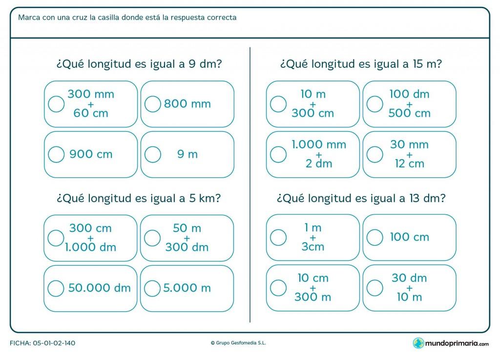 Ficha de medidas de longitud para primaria
