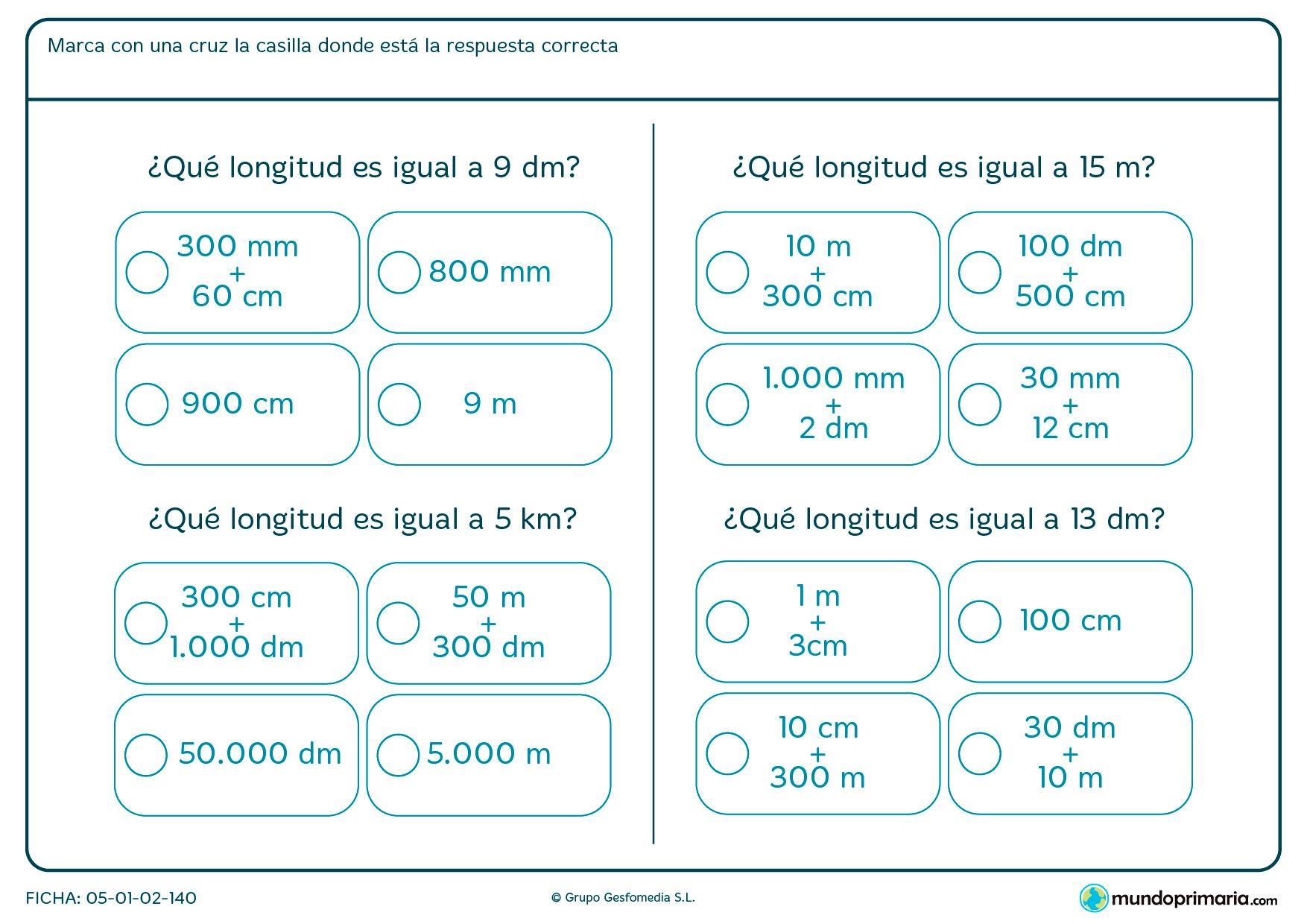 Ficha de medidas de longitud en las que has de convertir la unidad de medida de las respuestas a la misma de la pregunta para poder sacar la que es igual.