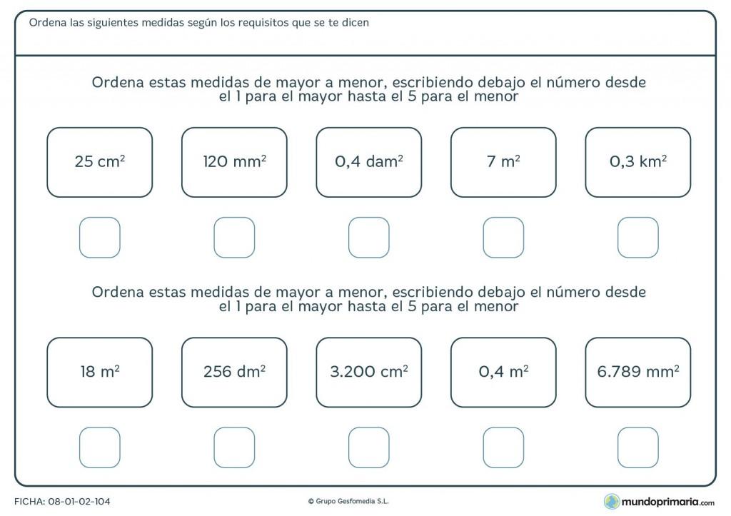 Ficha de medidas de mayor a menor para primaria