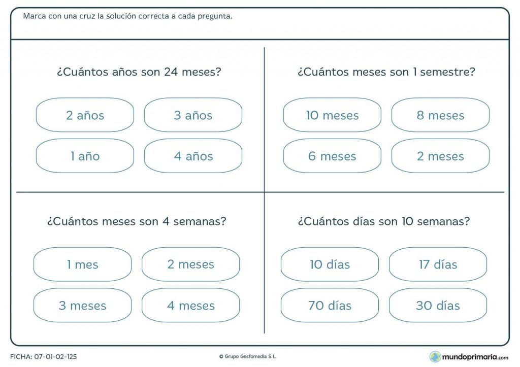 Ficha de medidas de tiempo para primaria