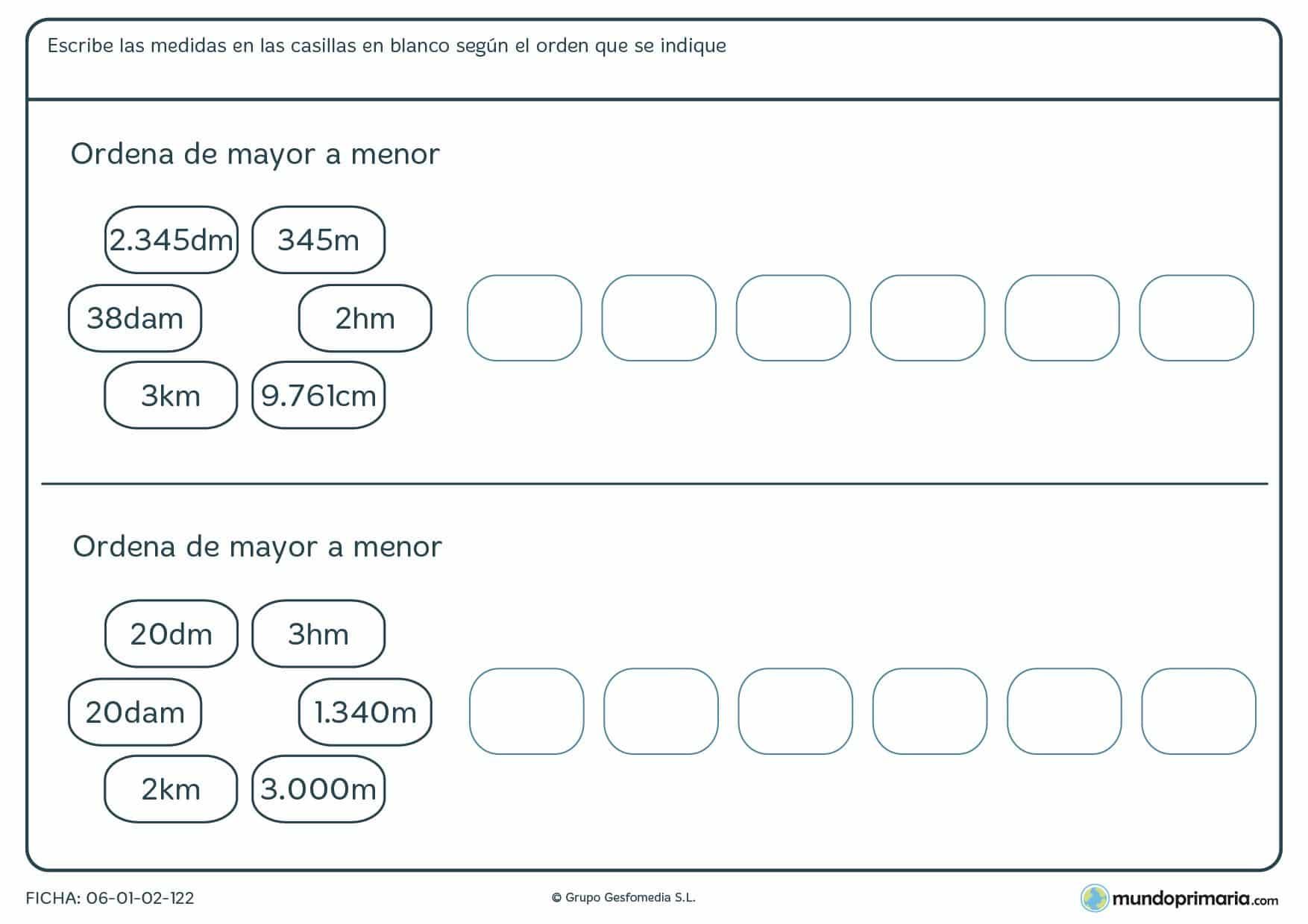 Ficha de medidas en orden de mayor a menor para que sean correctas.