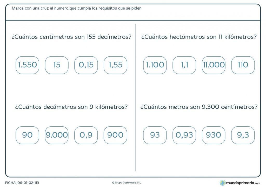 Ficha de medidas equivalentes para 4º de primaria