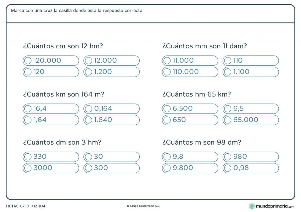 Ficha de medidas equivalentes para primaria
