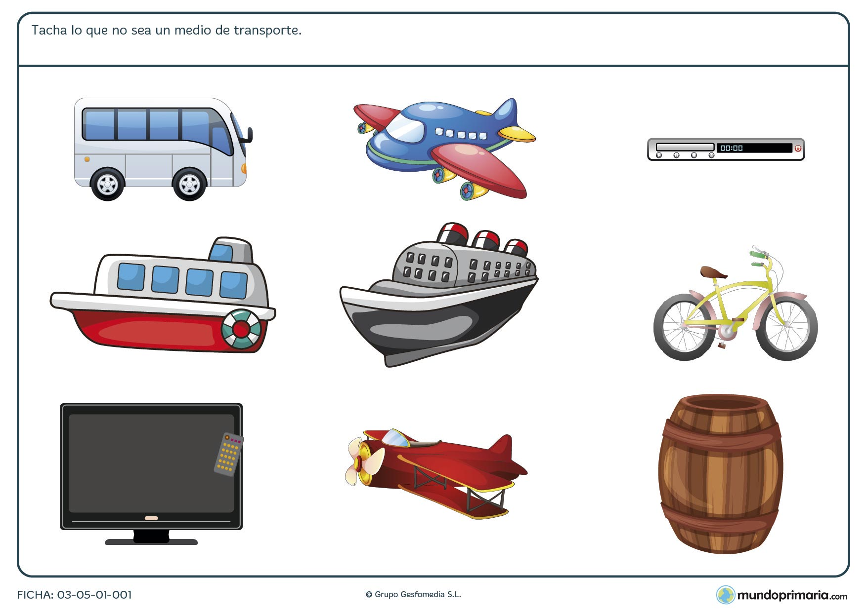 Ficha de medios de transporte en la que tienes que señalar entre varias imágenes cuales corresponden a medios de transporte.