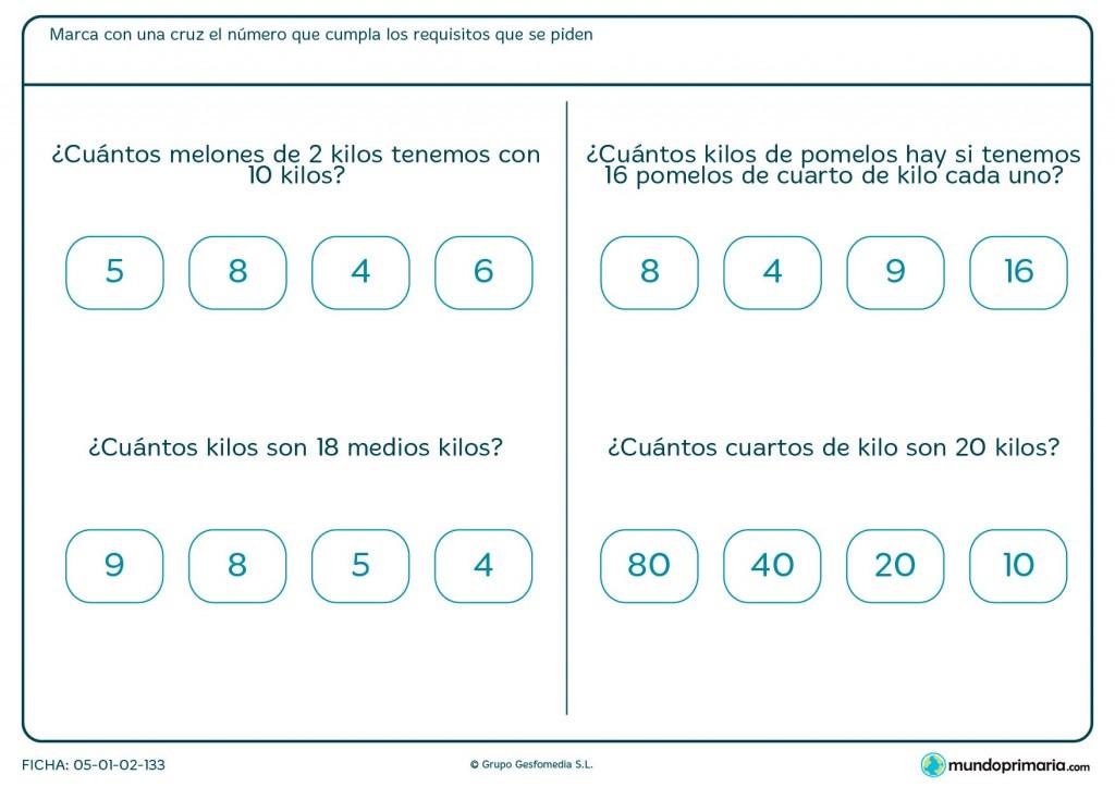 Ficha de medios kilos para primaria