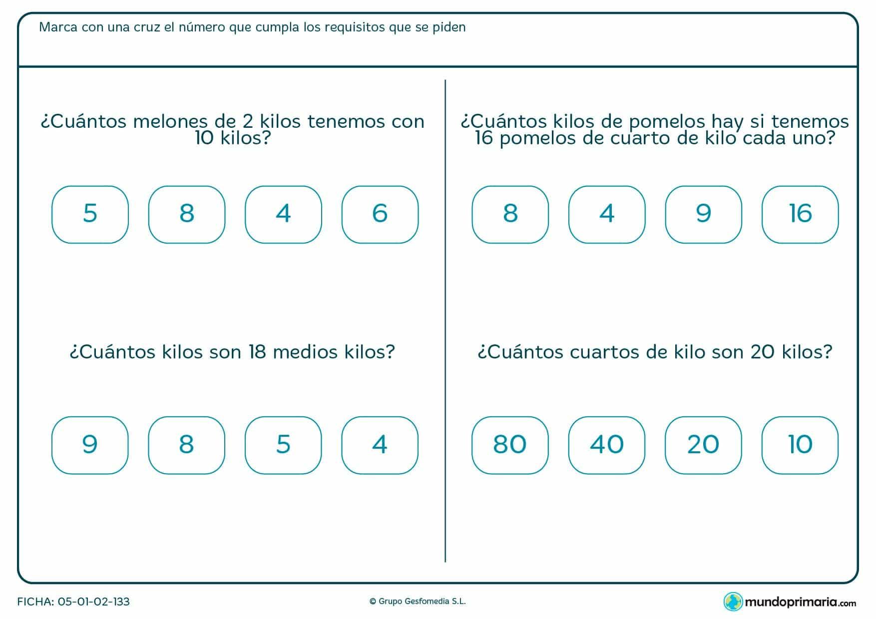 Ficha de medios kilos en la que has de hallar las equivalencias con kilos o cuartos de kilo.