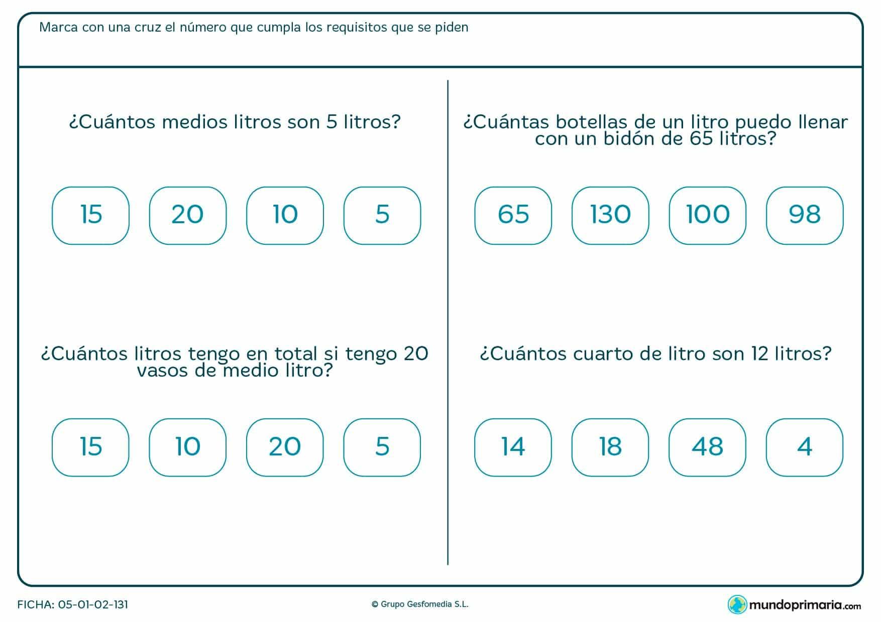 Ficha de medios litros y equivalencias con litros llevados a ejemplos de la vida cotidianos.