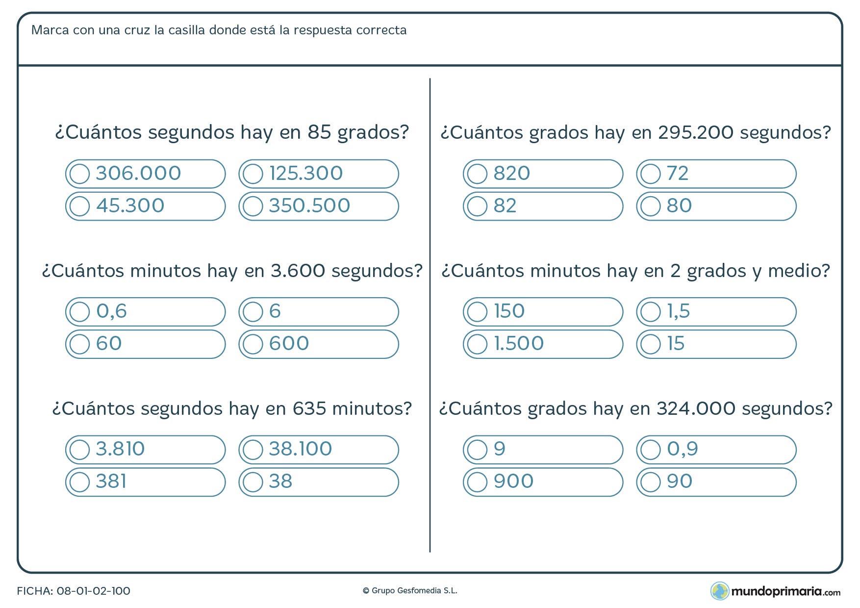 Ficha de medir ángulos y sacar las equivalencias que te pedimos, ya sea de grados a minutos o a segundos.