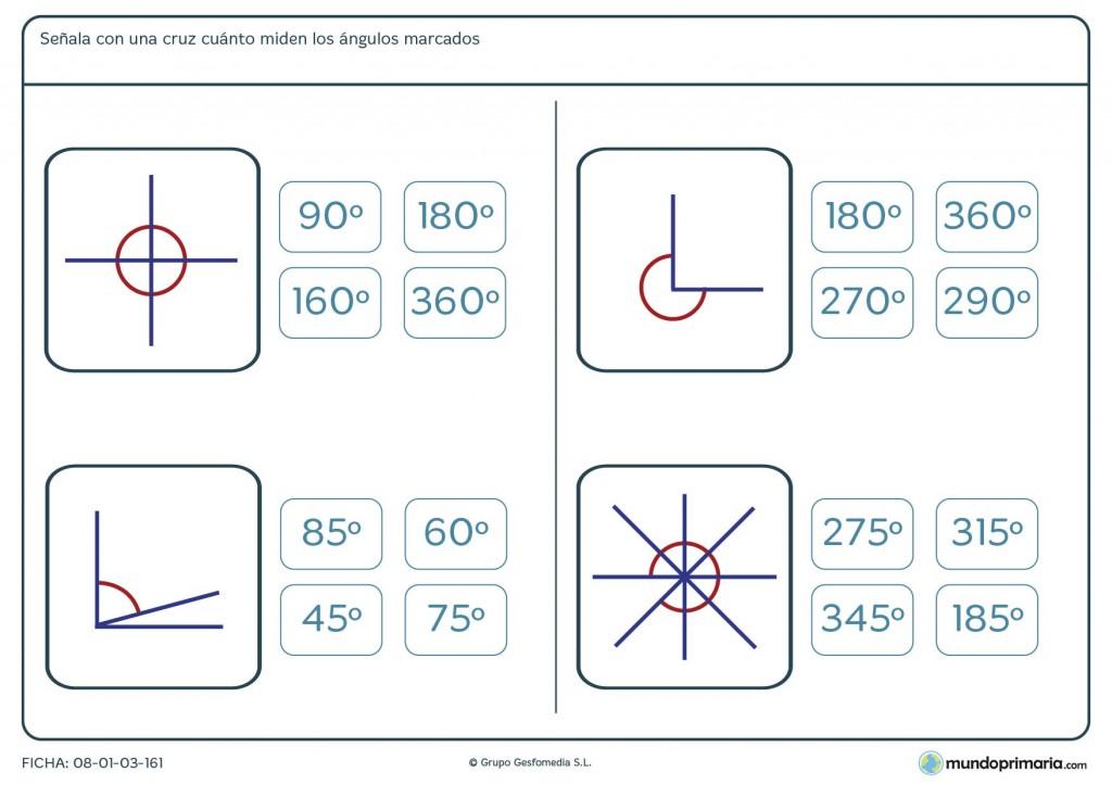 Ficha de medir ángulos para sexto de primaria