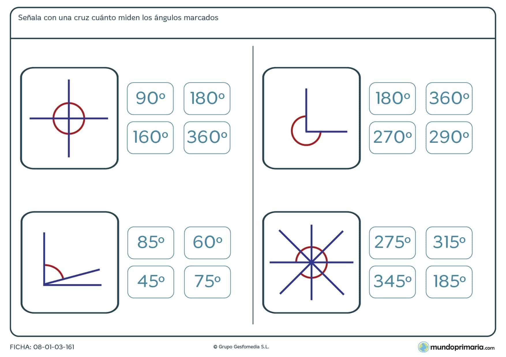 Ficha de medir ángulos eligiendo el resultado correcto entre las opciones que te damos.