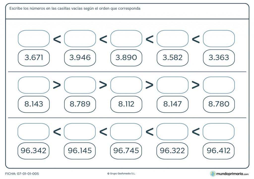 Ficha de menor a mayor números de 5 cifras para primaria