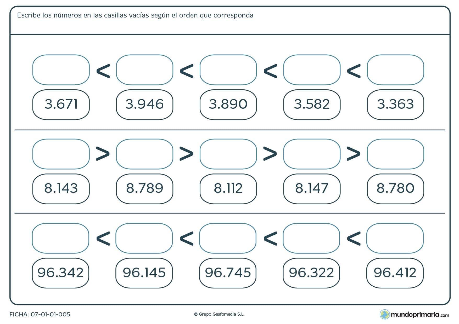 Ficha de menor a mayor números de 5 cifras completando los huecos en blanco de mayor a menor.