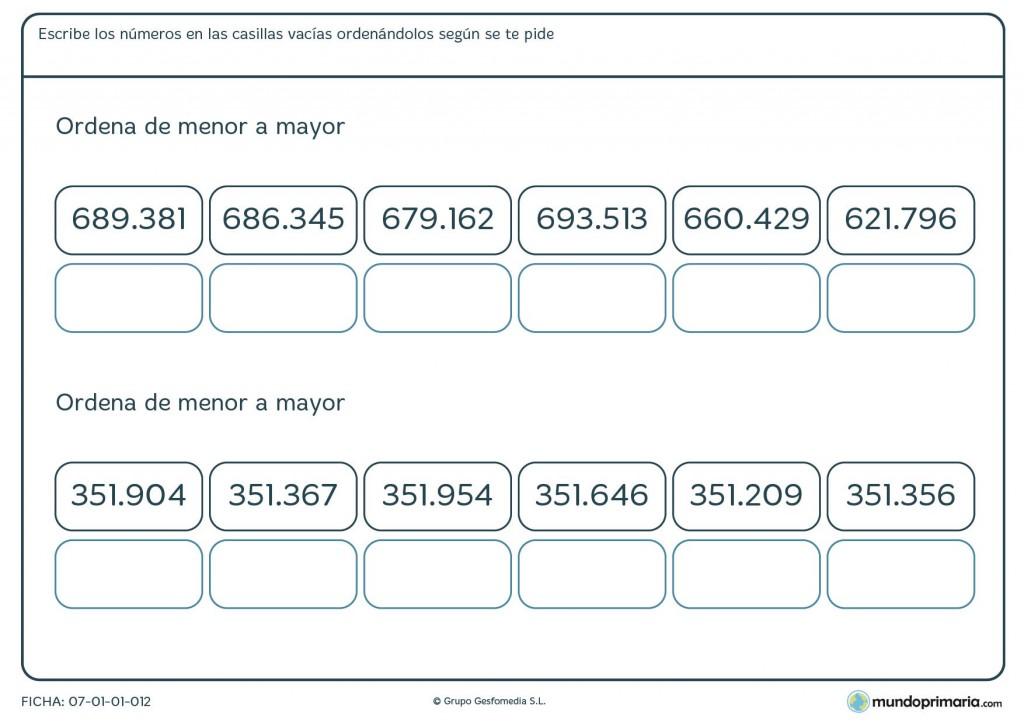 Ficha de menor a mayor números de 6 cifras para primaria