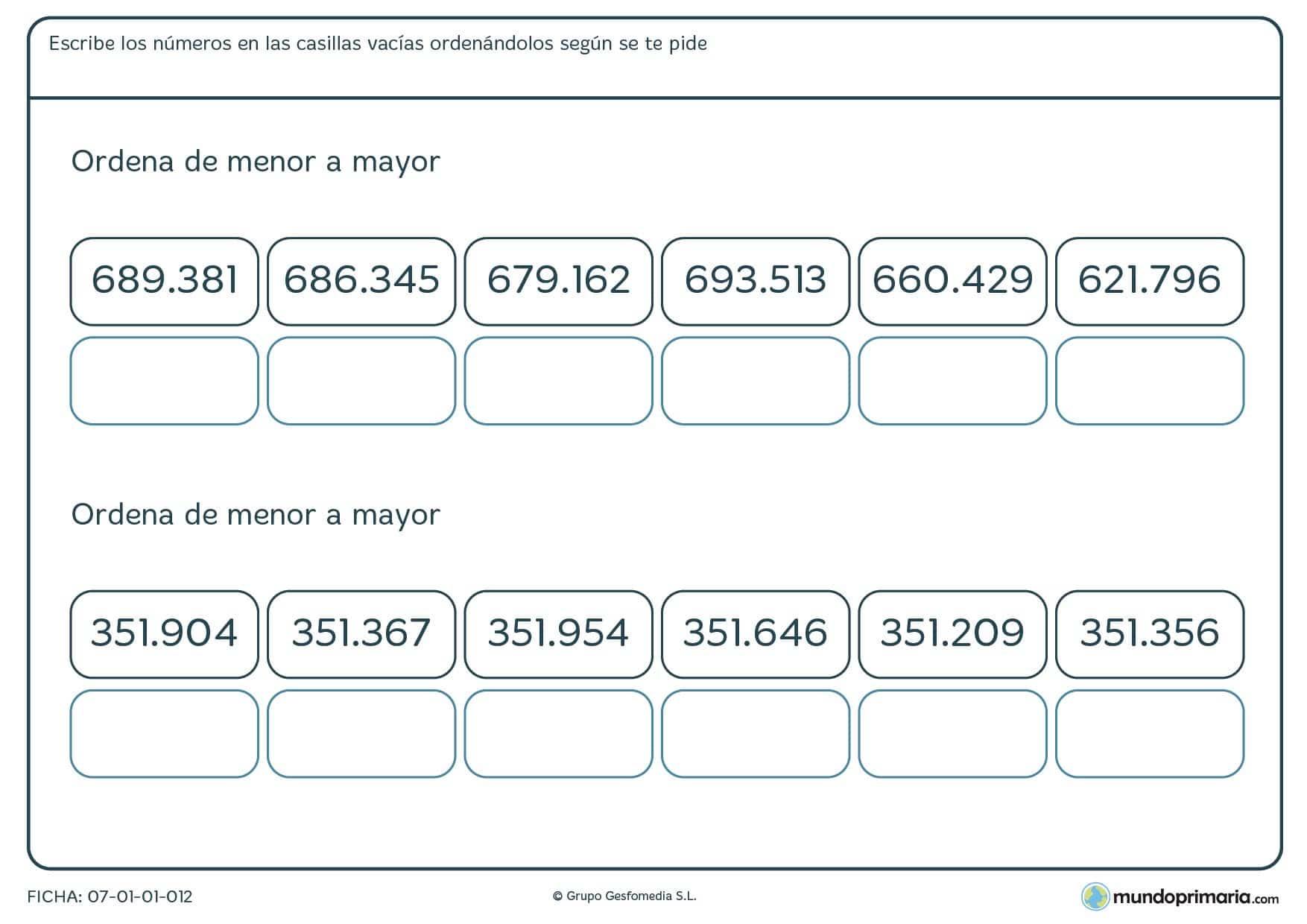 Ficha de menor a mayor números de 6 cifras en las que has de colocar los números en las casillas correspondientes.
