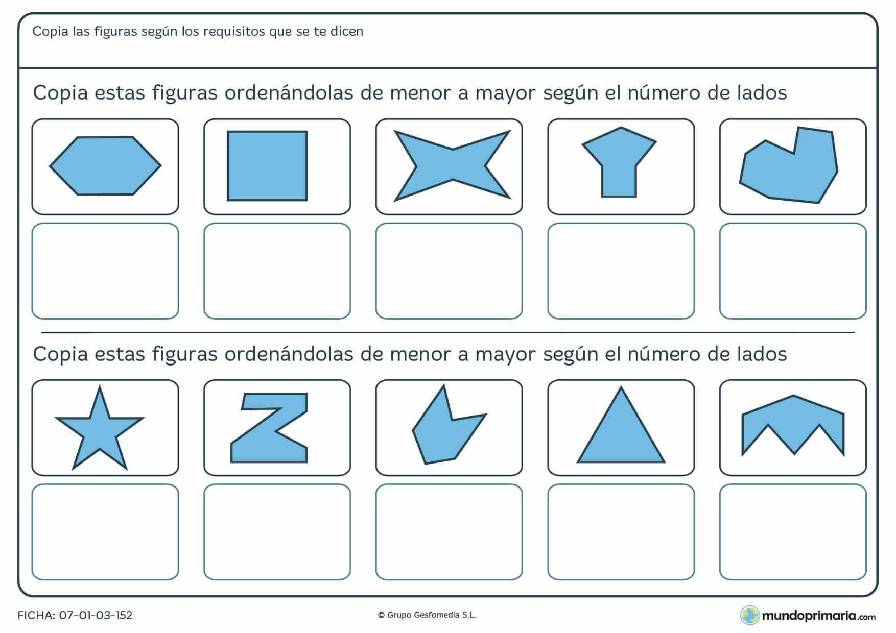 Ficha de menor a mayor para ordenar según su número de lados.