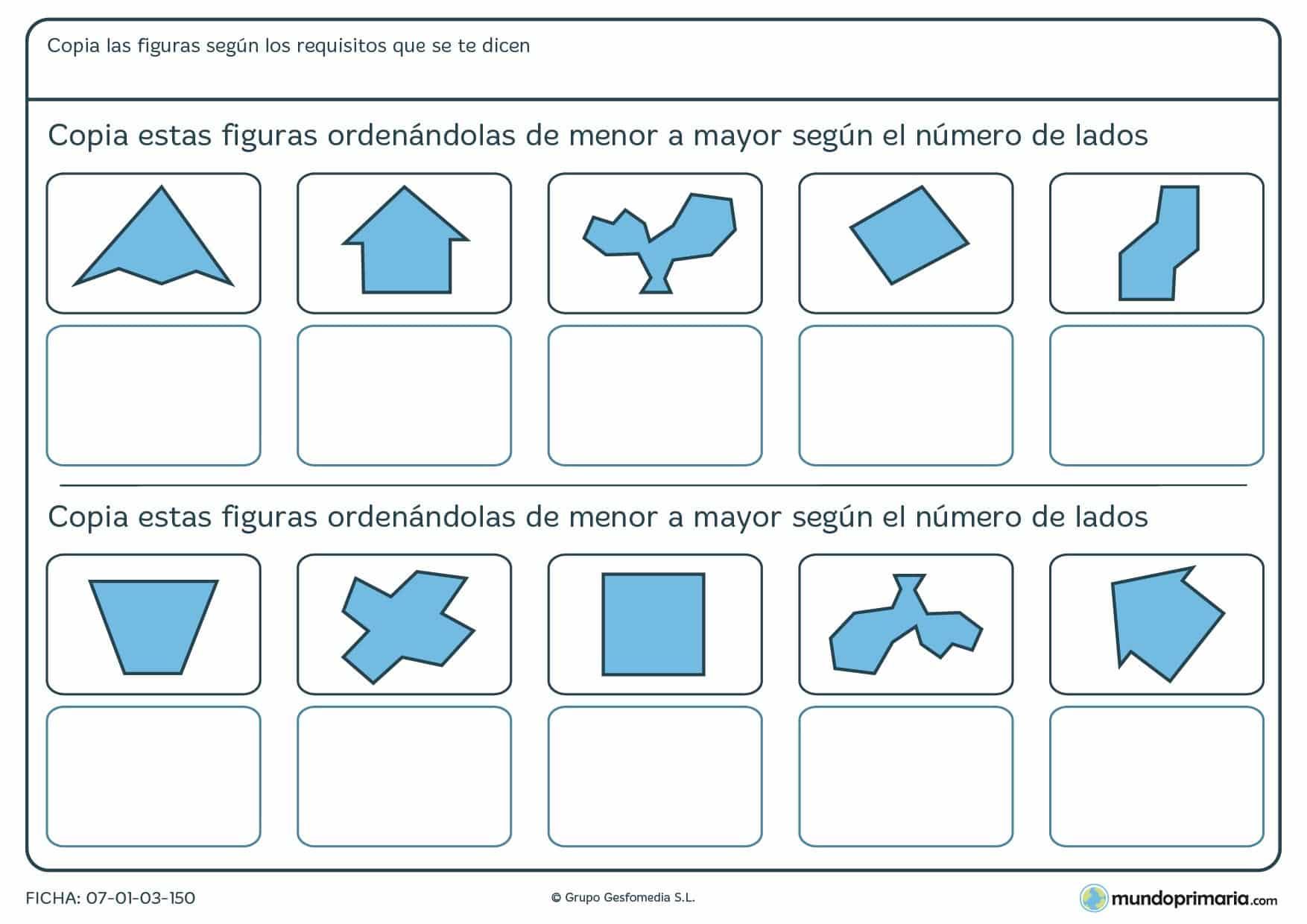 Ficha de menor lados a mayor número de lados de figuras geométricas, clasifícalas así.