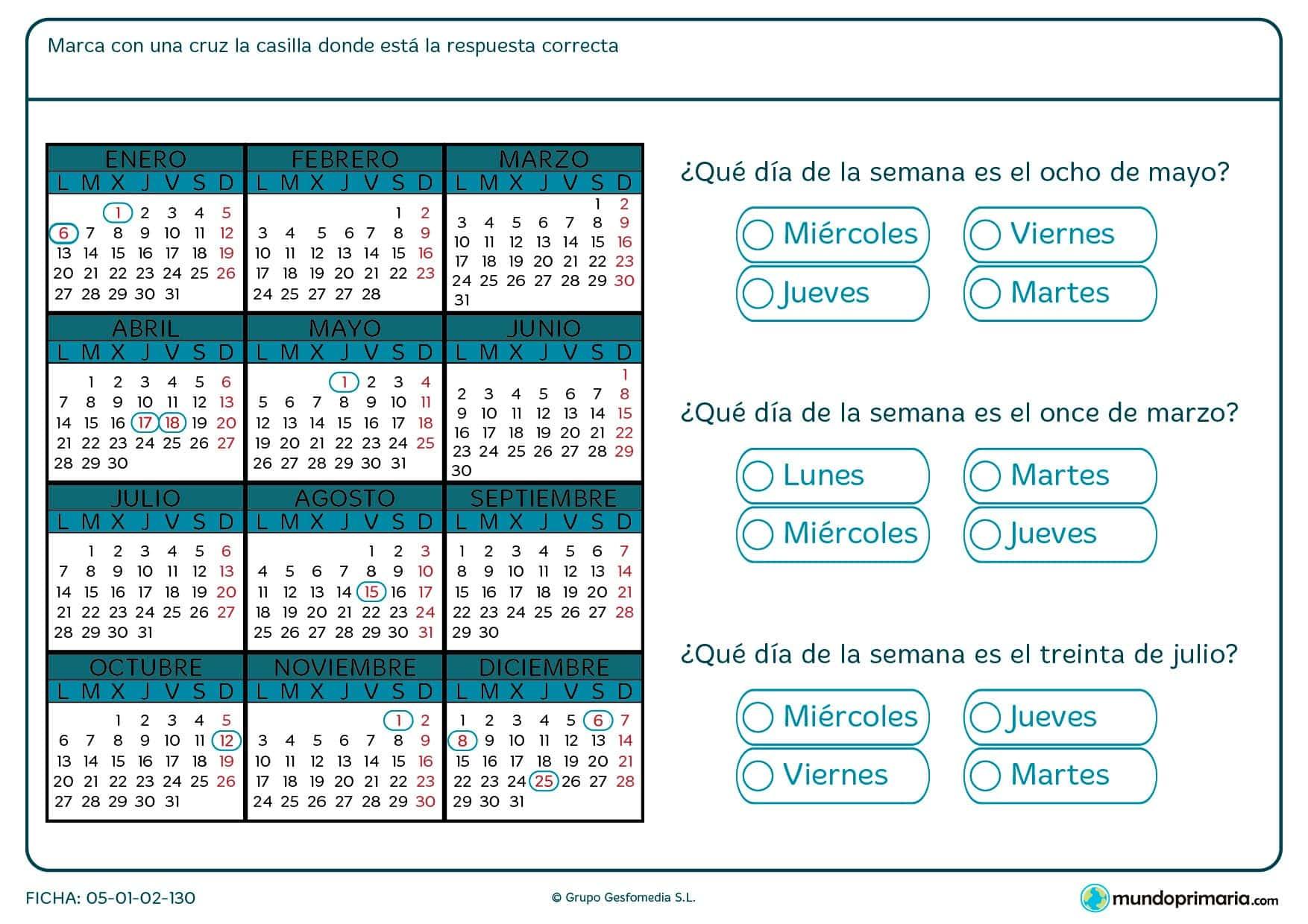 Ficha de meses del calendario en el que deberás que día de la semana es un día concreto del año, te damos el número y el mes.