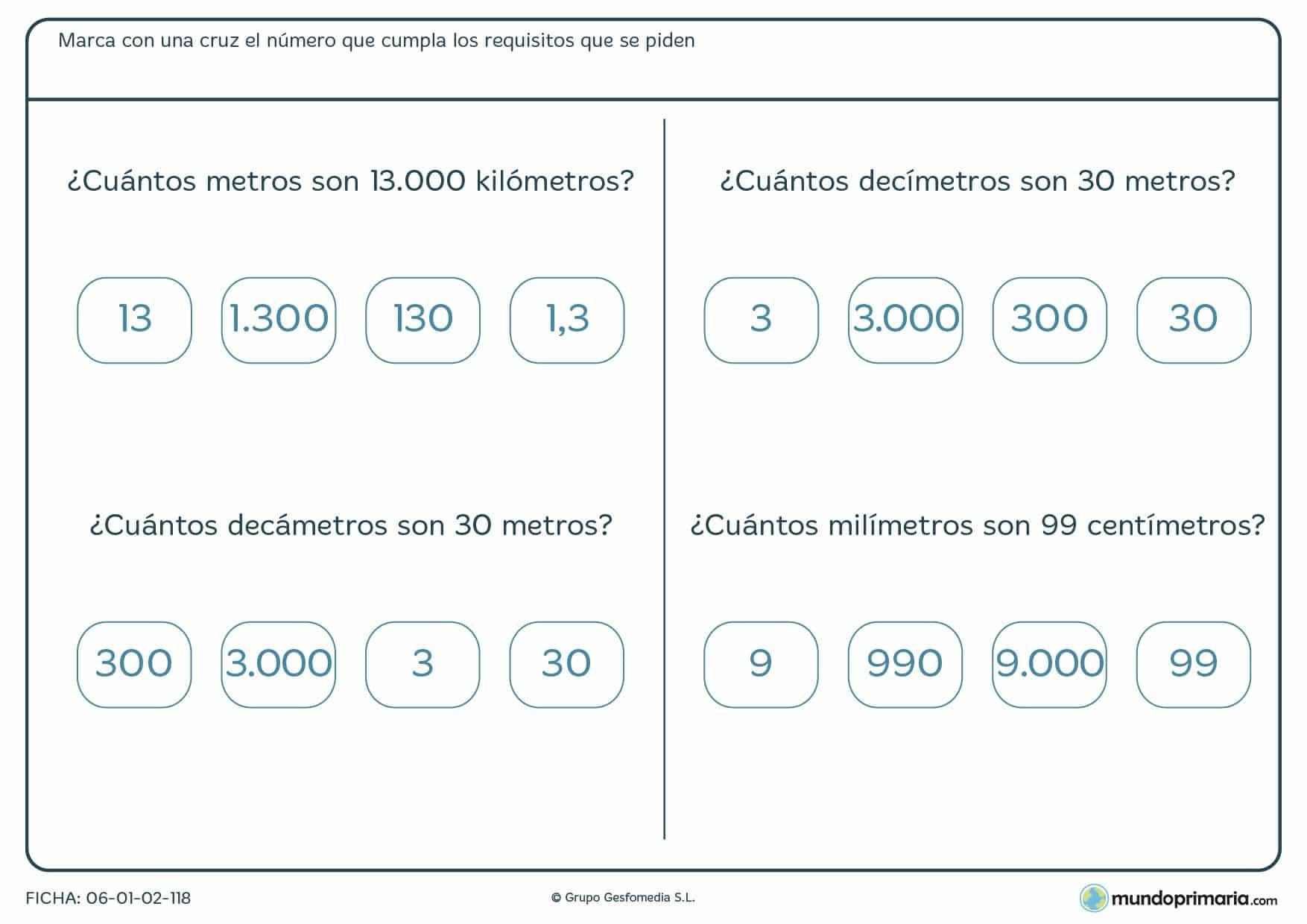 Ficha de metros correspondientes para que señales la respuesta que creas correcta sobre estas equivalencias.