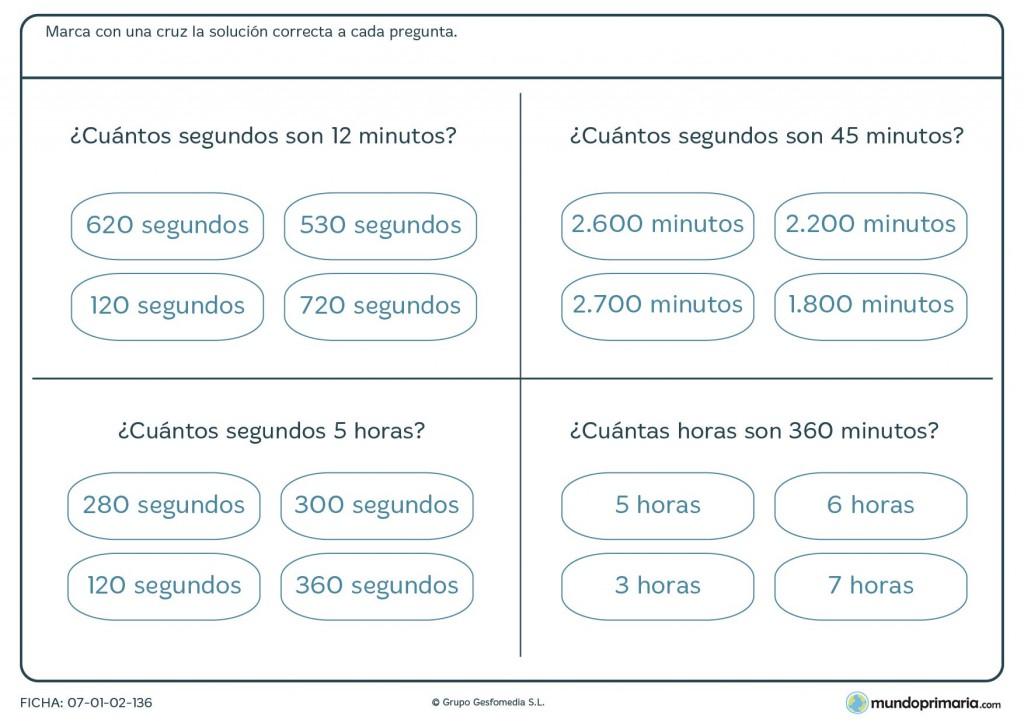 Ficha de minutos, horas y segundos para primaria