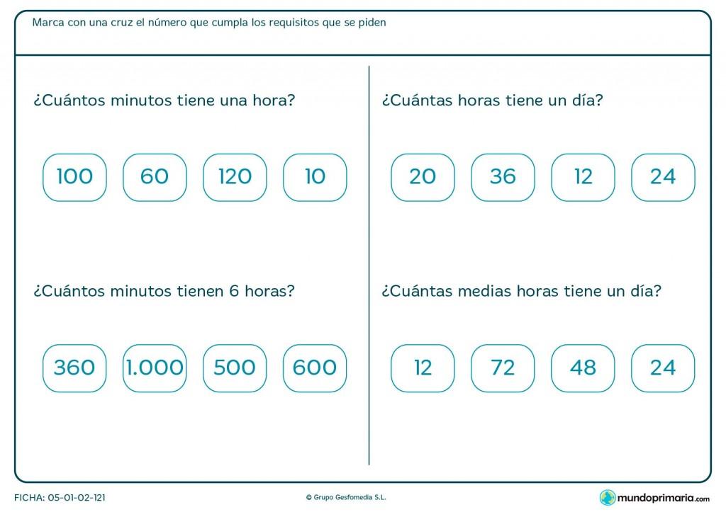 Ficha de minutos para primaria