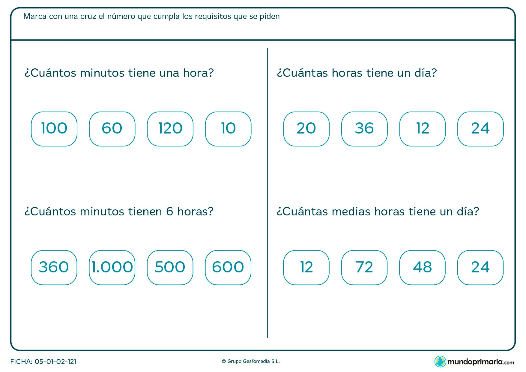 Ficha de minutos en la que se muestran unas cifras que tenemos que contrastar con lo que se pide.