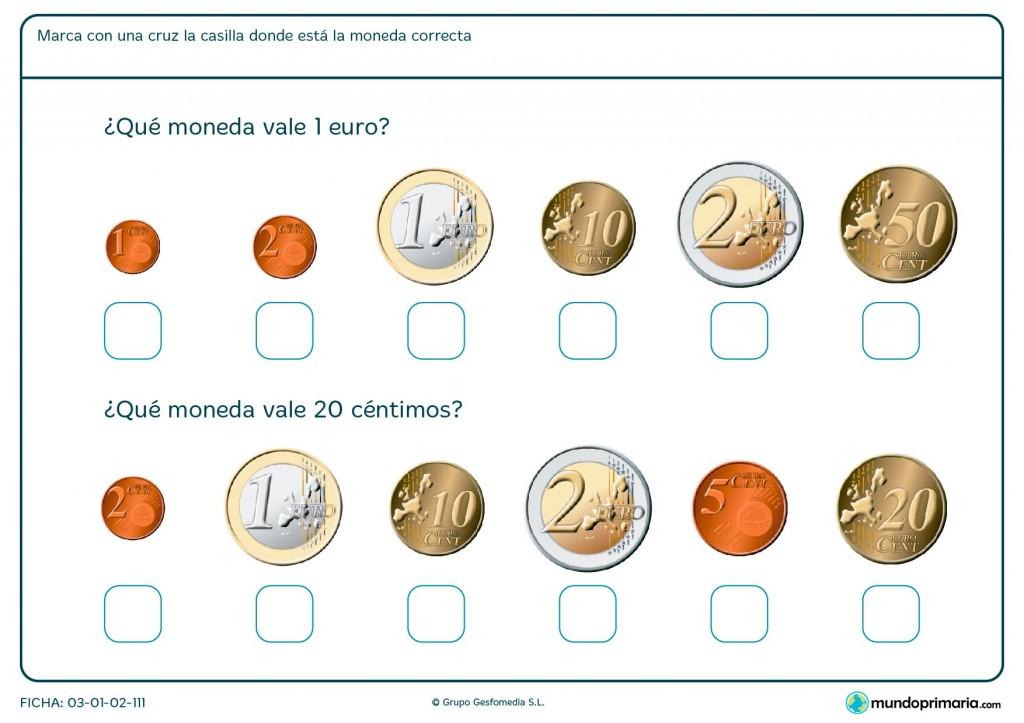Ficha de monedas de 1 euro