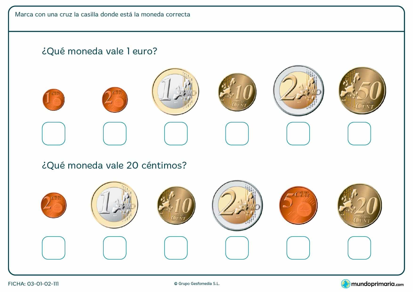 Ficha de monedas de 1 euro en la que deberás señalar cuál corresponde a 1 euro y cuál a 20 céntimos.