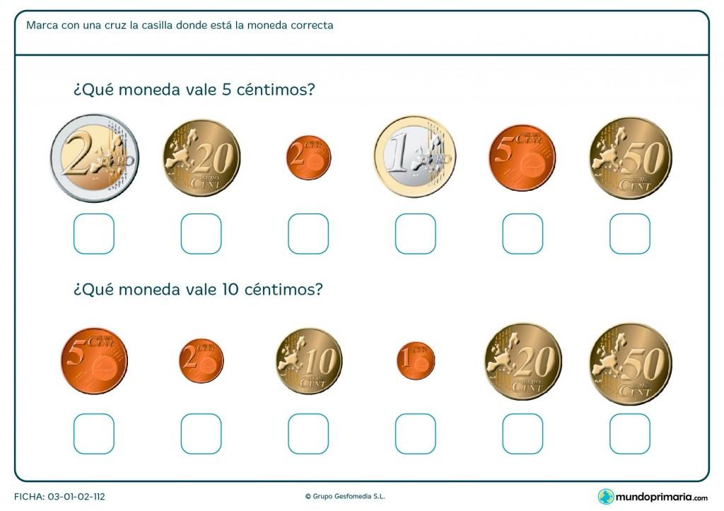Ficha de monedas de 5 céntimos