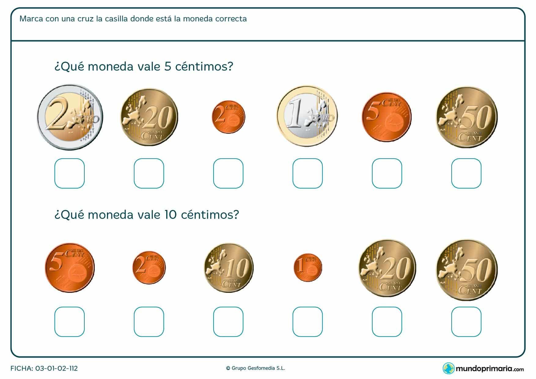 Ficha de monedas de 5 céntimos y 10 céntimos, búscalas y márcalas con una x.