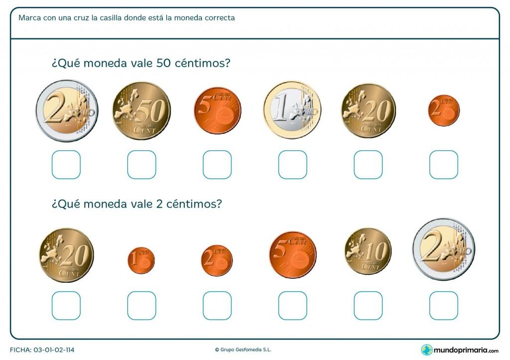 Ficha de monedas de céntimos