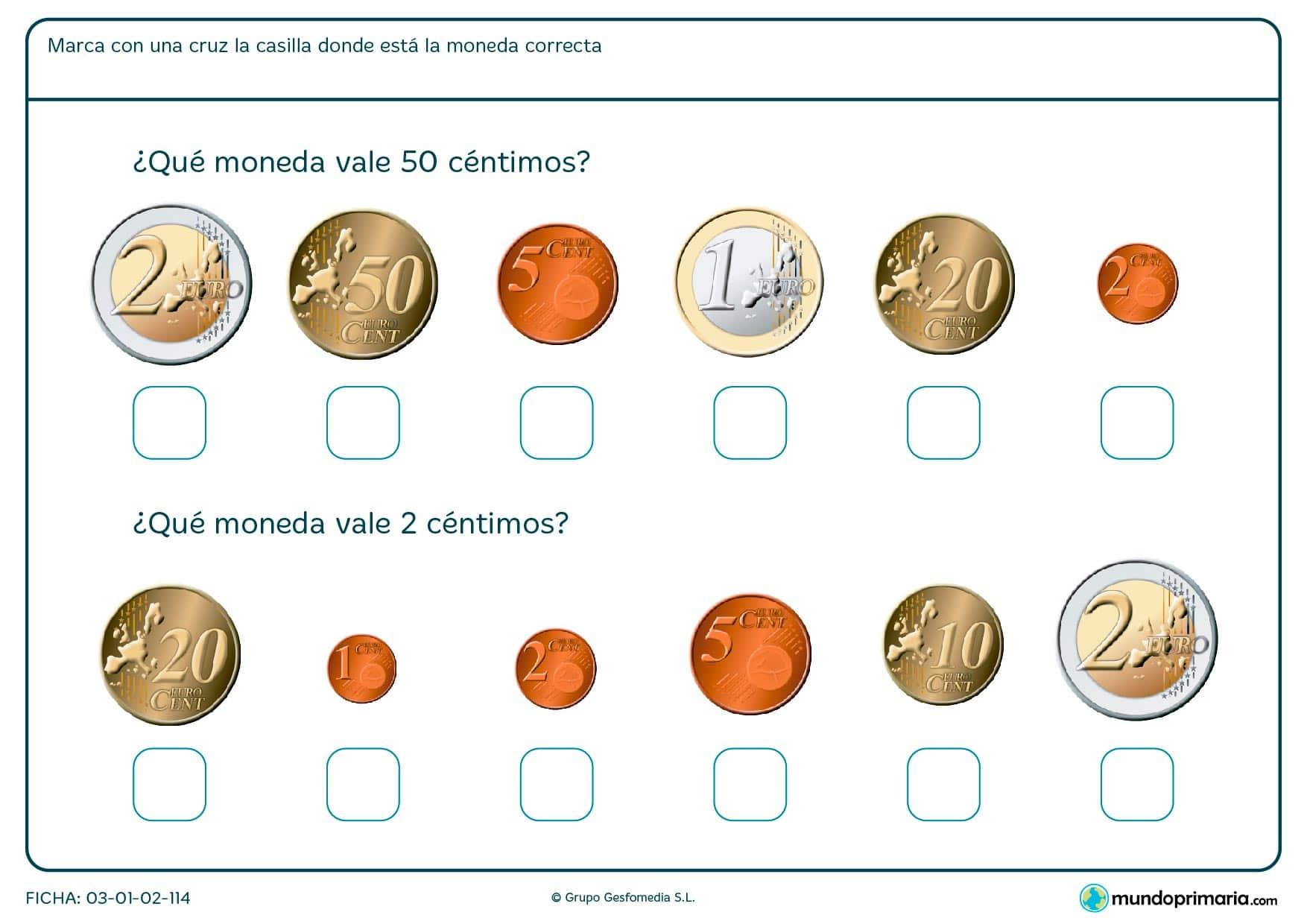 Ficha de monedas de 50 céntimos y 2 céntimos, búscalas y márcalas con una x.